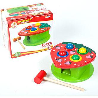 Деревянная игрушка горка с шариками